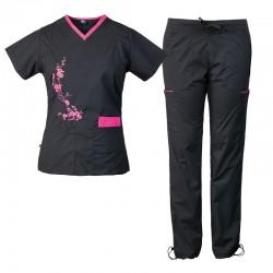 Pyjama pour infirmier(e) bicolore avec motif