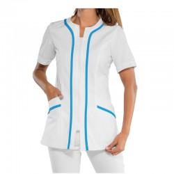 Pyjama Médical Blanc avec garniture en Bleu